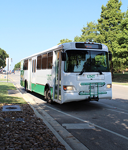 Denton County Transit Authority bus providing transit for UNT students