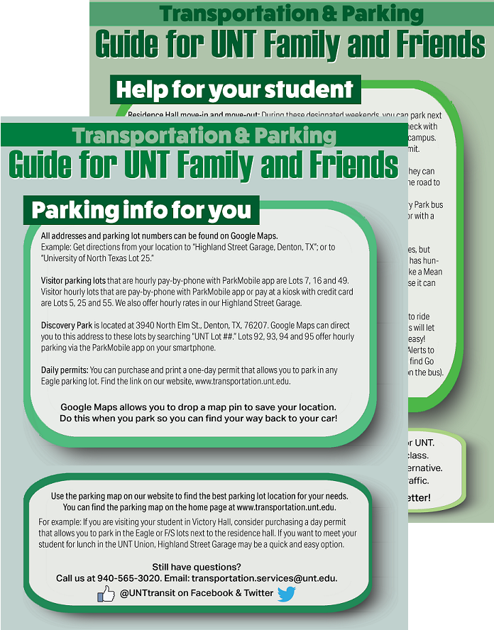 Guide for Family and Friends of UNT students - click image for readable PDF