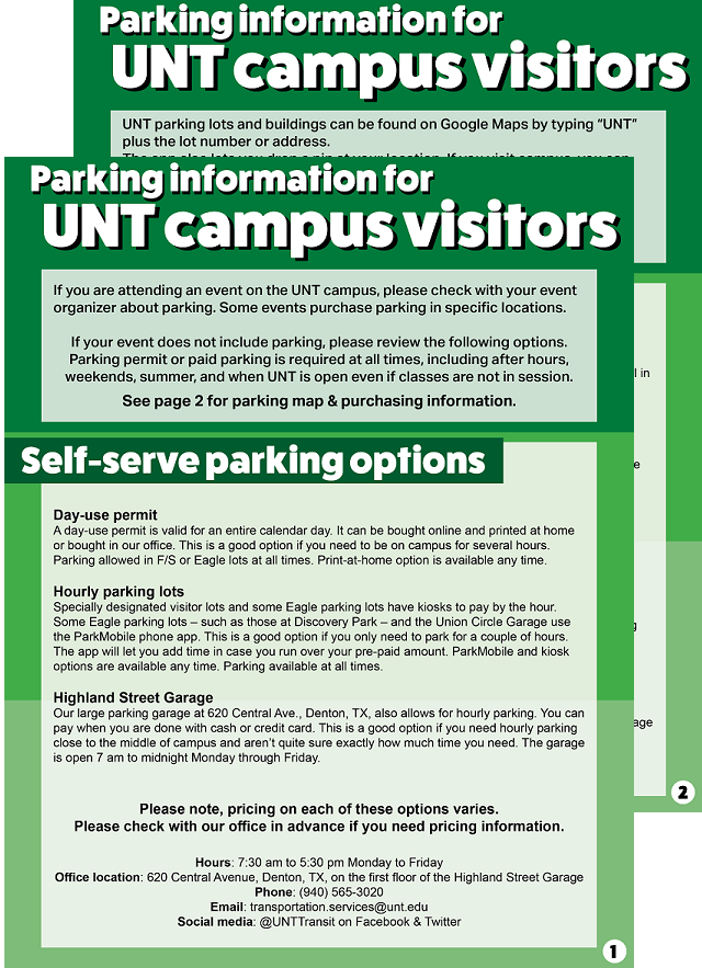 Parking guide for UNT visitors click on image to get to readable PDF