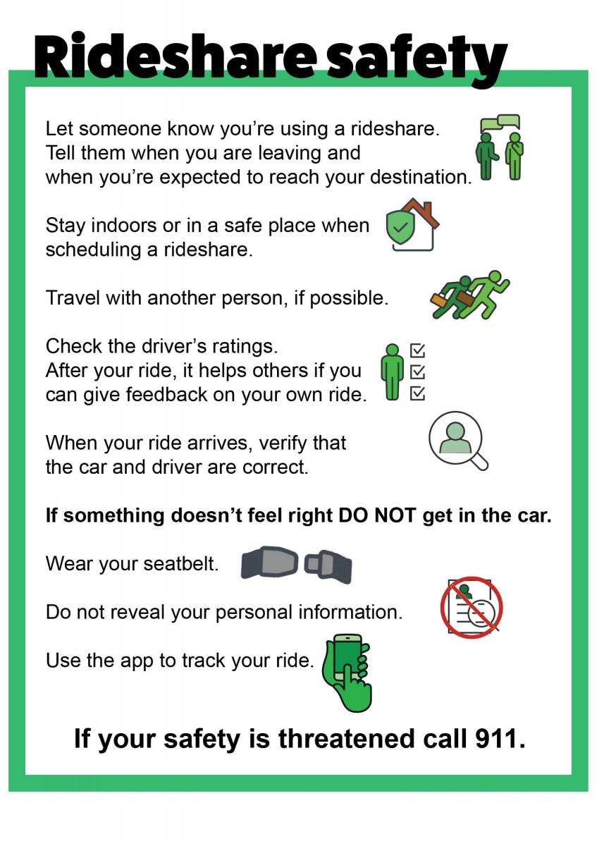 Rideshare safety tips. Click image to get to readable PDF